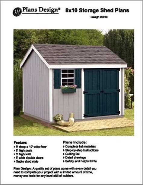 8 x 10a gable storage shed project plans design 10810 ebay