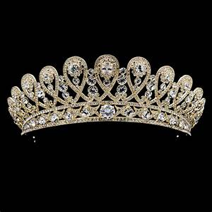 Gold Crystals Rhinestone Tiara Royal Crown Bridal Wedding ...