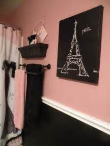 black and pink paris bathroom shower curtain and