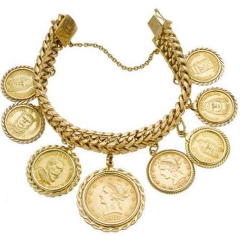 gold bracelets mens gold coin charm bracelet