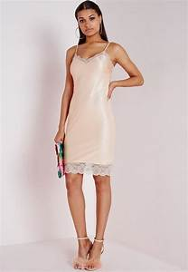 lace trim slip dress nude missguided With robe style nuisette