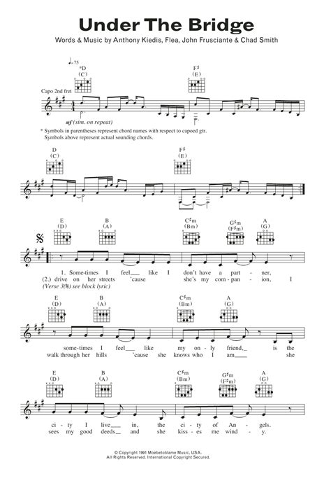 under the bridge sheet music red hot chili peppers