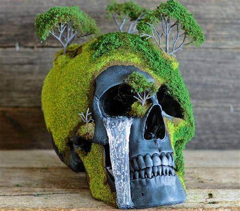 bonsai skulls  faux human skulls   nature esque