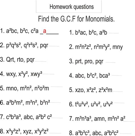 greatest common factor homework questions monomials