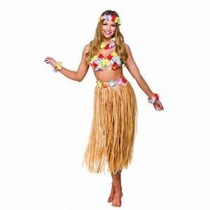 Hawaiian Beach Party 6 Piece Set Skirt Lei Fancy Dress ...