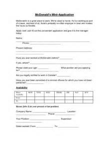 Mcdonalds Job Application Form Sample Forms
