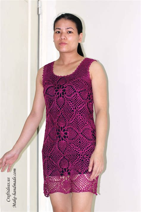 crochet beauty summer dress  pineapple granny squares