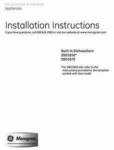 Ge Zbd1870nss Installation Instructions Manual Pdf