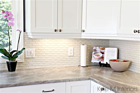 Tile Backsplash With Laminate Countertop by Cloud White Cabinets Hexagon Subway Tile Backsplash