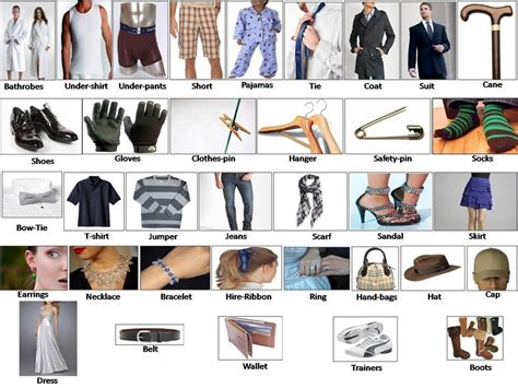 Clothes And Accessory Learning English Clothes For Men