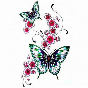 Tattoo Fleur De Cerisier : tatouage papillon fleur kolorisse developpement ~ Melissatoandfro.com Idées de Décoration