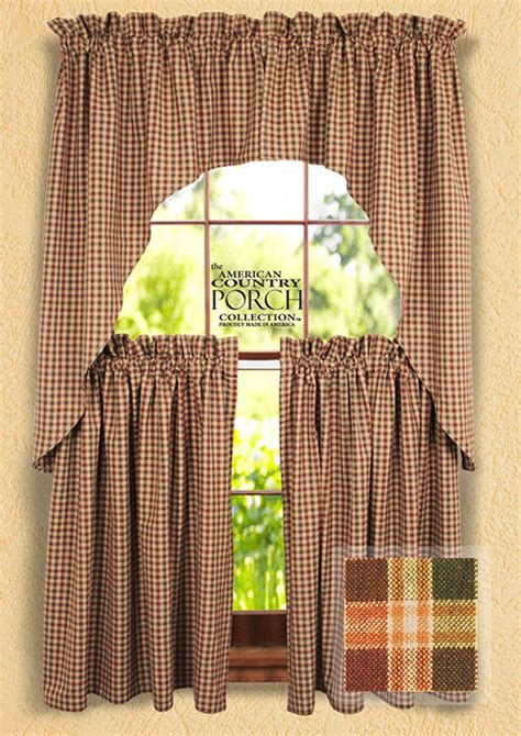 country plaid kitchen curtains new plaid window curtain swags 6195