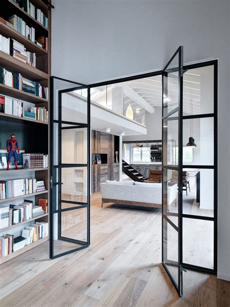 double height loft mezzanine glass staircase