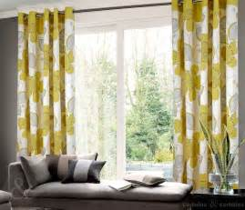 grommet top yellow and gray floral curtain in living room decofurnish