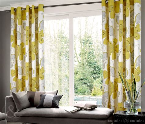 grommet top yellow and gray floral curtain in living room