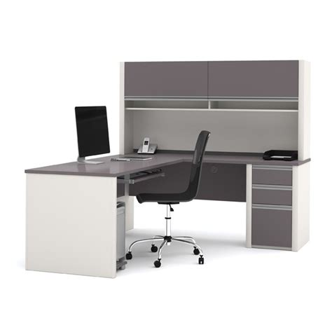 Bestar Connexion U Shaped Desk With Hutch by Bestar 93859 Connexion L Shaped Office Desk W Hutch