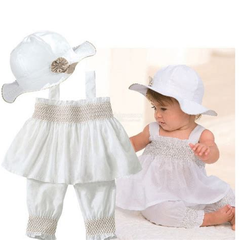 White Baby Girl Clothes 0-3 6-9 12-18 24 Months White Summer Dress 3 Pcs Set | eBay