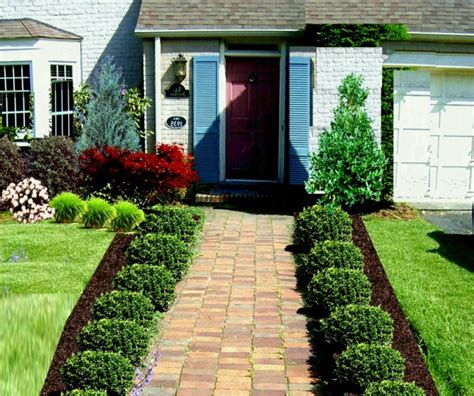 green modern front yard landscaping  country home