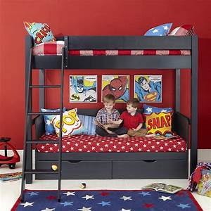 superhero themed black wooden aspace bunk bed with star With choosing boys bunk beds for your superhero
