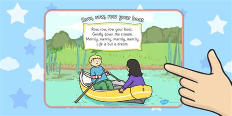 Row Row Row Your Boat Lyrics In Spanish by Row Row Row Your Boat Nursery Rhyme Display Poster Displays