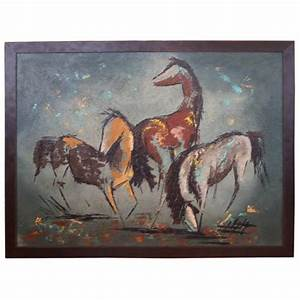 Stylized Horses Painting signed ANTO at 1stdibs
