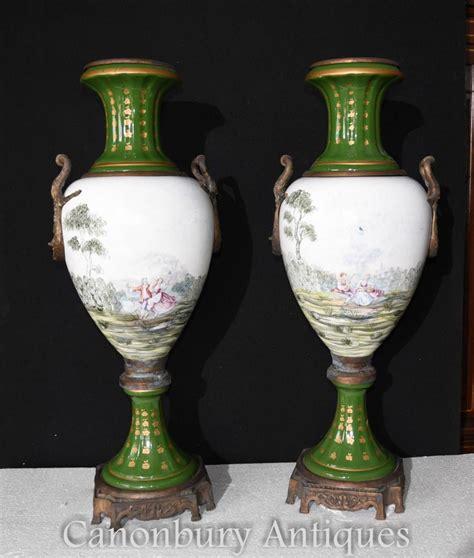 pair paris sevres porcelain amphora urns vases french pottery