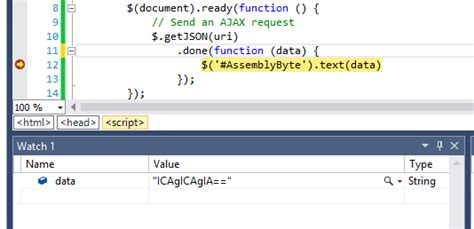 Debugging  View String Watch Variable As An Array Of Bytes In The Visual Studio 'watch' Or
