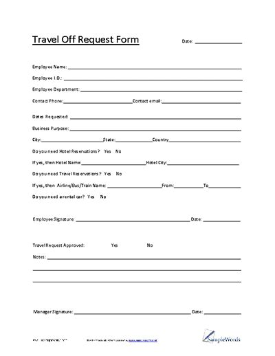 travel request form   file template