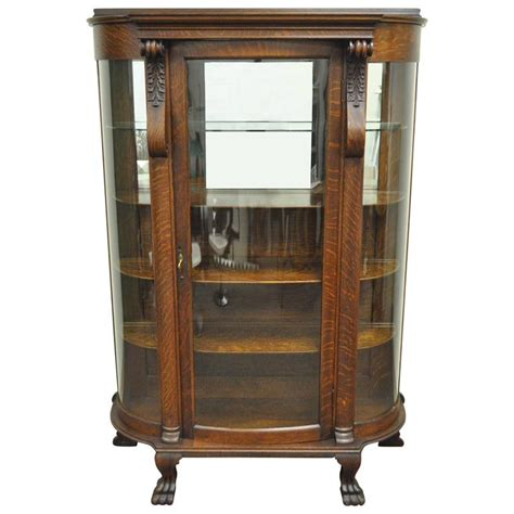 bow front curio cabinet antique tiger oak bow front curved glass and mirror curio