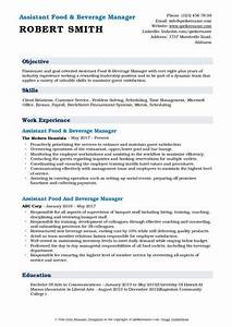 Food Service Resume Assistant Food And Beverage Manager Resume Samples