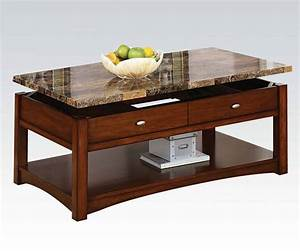 Jas cherry faux marble wood coffee table w lift top the for Cherry wood lift top coffee table