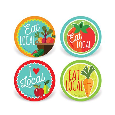 cuisine stickers eat local stickers locally grown foods stickers