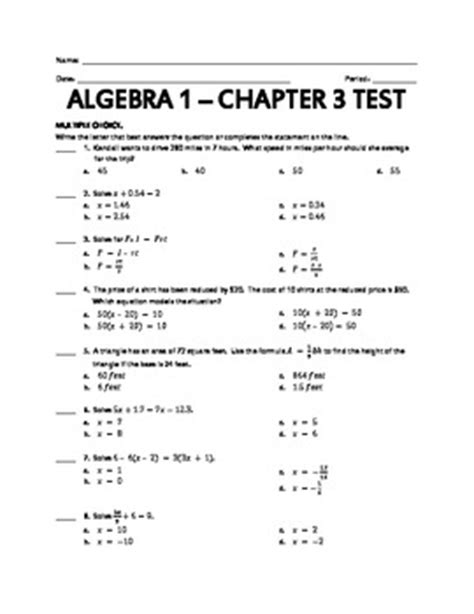 holt algebra 2 chapter 7 test form a answers holt algebra 1 chapter 3 test by cynthia martine tpt