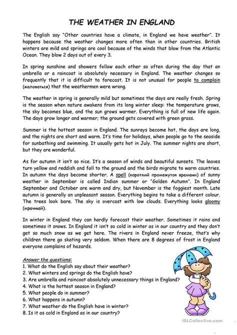 weather  england worksheet  esl printable