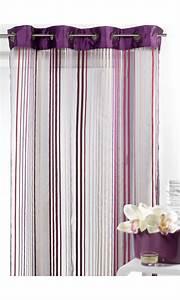 Kit Rayure Vitrage : voilage en organza fantaisie rayures verticales prune ~ Premium-room.com Idées de Décoration