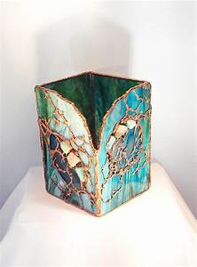 Unique, Art, Glass, Large, Candle, Holder, With, Sliced, Agates, And