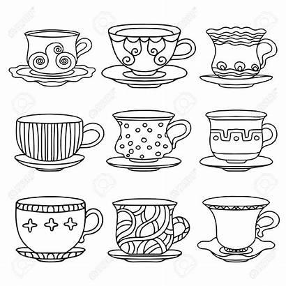 Tea Cup Cartoon Coffee Sketch Simple Saucers