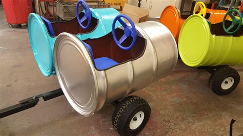 double  gallon barrel train car wagon custom metal