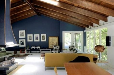 modern country homes interiors interior of treehouse in modern style with blue walls and wood ceiling design bookmark 8961