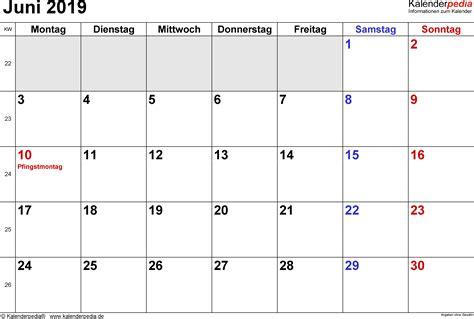 kalender juni als vorlagen