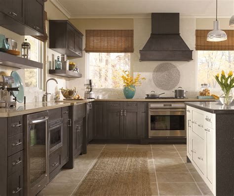 wood square kitchen craft cabinetry 566 shaker style cabinets in casual kitchen