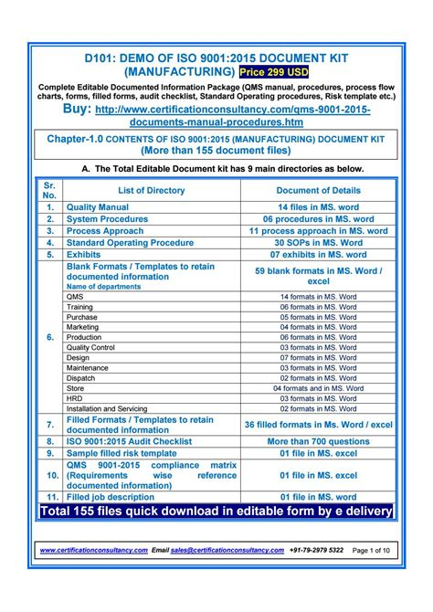 Iso 9001 Forms Templates Free by Demo Of Iso 9001 2015 Document Kit Manufacturing By