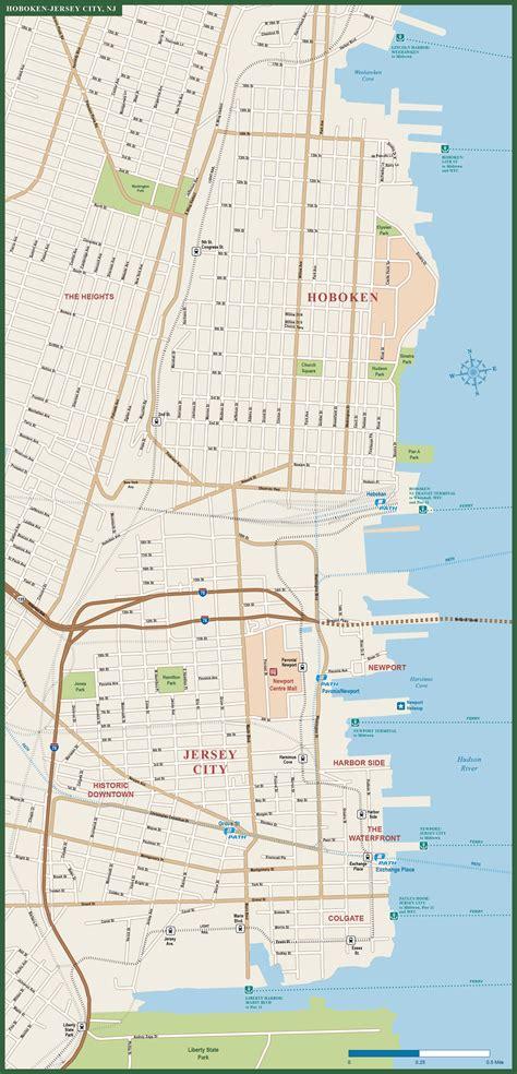 Hoboken Downtown Map Digital Vector Creative Force