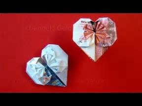 geschenkideen 20 hochzeitstag geldscheine falten herz geldgeschenke hochzeit basteln geld falten herz diy origami