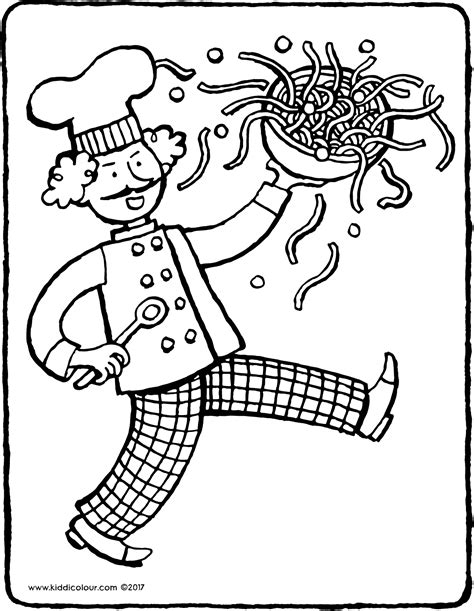 kitchen coloring pages chef kiddicolour 3385