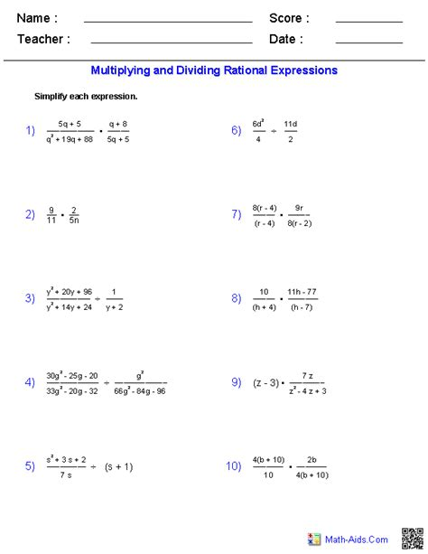 multiplying and dividing rational expressions worksheets