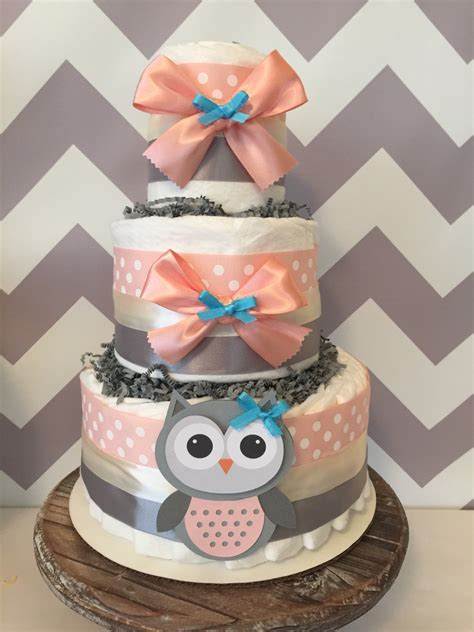 Owl Baby Shower Decorations - owl cake in coral and grey owl baby shower