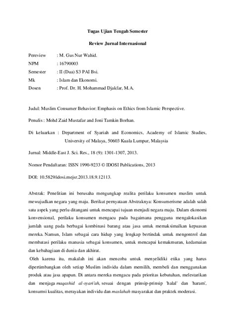 (DOC) Review Jurnal.docx | M. Gusnur Wahid, M.Pd.I