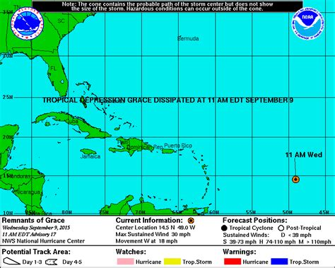 Puerto rico and the virgin islands are under a tropical storm warning. National Hurricane Center: Tropical Depression Grace Dissipates