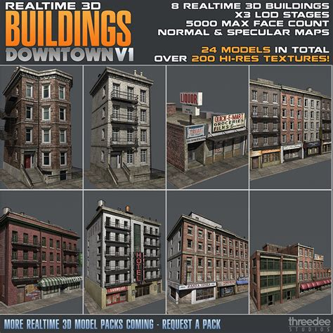 collectible buildings jj 23 24 realtime 3d buildings pack downtown v1 by cgshack 3docean
